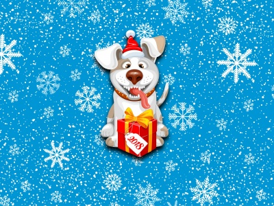 2018 New Year Snow Dog Cute (click to view)