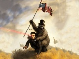 Abraham Lincoln Funny Flags Monocle Bears American Flag