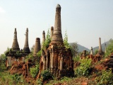 Ancient Ruins Of Indein Stupa Complex Shan Taunggyi Burma