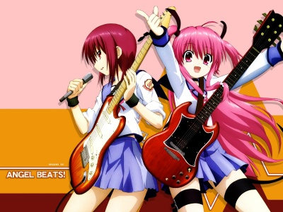 Angel Beats Girl Guitar Concert Microphone Smiling Anime (click to view)