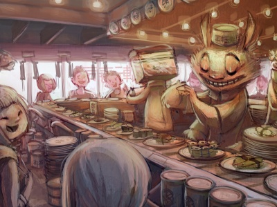 Art Anime Sushi Bar Characters (click to view)