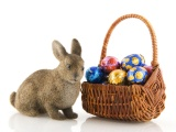 Basket Of Easter Eggs And Bunny