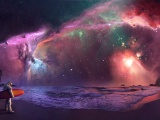 Beach Outer Space Stars Galaxies Nebulae Surfing Lakes Surfers Cosmic Astronaut