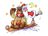 Bear Santa Claus Greeting Card Star