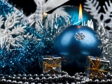 Blue Candle And Christmas Decorations