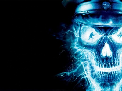 Blue Neon Skull Officer