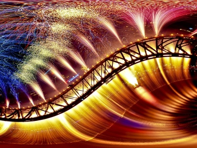 Bridge Fireworks Colorful (click to view)