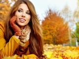 Brunette Fall Long Haired Gloves Jacket Smiling Leaves