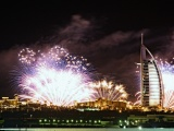 Burj Al Arab Night Lights Fireworks Dubai Uae United Arab