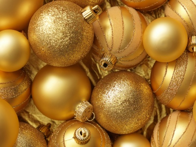 Christmas New Year Balls Gold Color