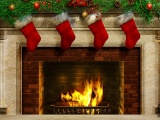 Christmas Stockings And Fireplace