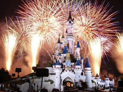 Cinderella Castle Disneyland Fireworks Paris France