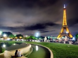 City Night Eiffel Tower Paris France