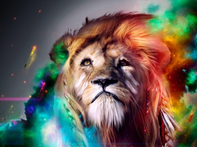 Colorful Abstract Art Lion (click to view)