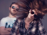 Couple Dutch Sunglasses Studio Hair Fluttering