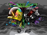 Daft Punk Helmets Graphics Clouds Colors