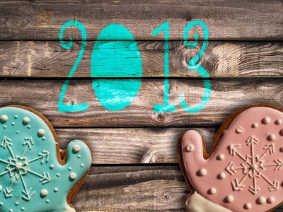 Date Numbers New Year Mittens Pair Wood Background