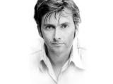 David Tennant Face Front View Black And White