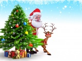 Deer Santa Claus Christmas Tree Snow