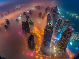 Dubai Skyscrapers Night Lights