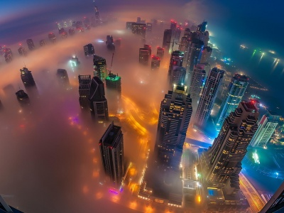 Dubai Skyscrapers Night Lights (click to view)