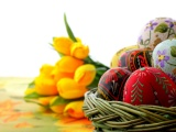 Easter Basket Of Eggs And Tulips