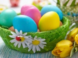 Easter Eggs In A Green Basket