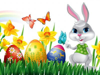 Easter Eggs Rabbit Flowers Butterfly (click to view)