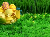 Easter Holiday Eggs Basket Grass Lawn Flowers