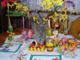 Easter Holiday Eggs Flowers Table Tablecloth Rabbit Chicks Chicken