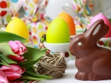 Easter Rabbit Chocolate Eggs Flowers Twine