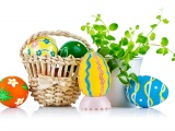 Easter Wicker Basket Eggs Plant