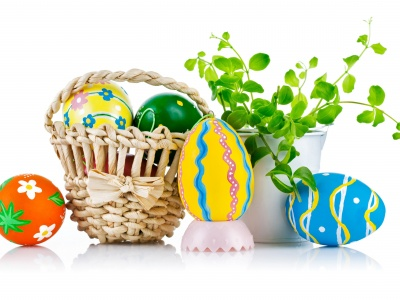 Easter Wicker Basket Eggs Plant (click to view)