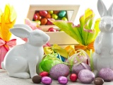 Easter With Bunny Decor And Eggs