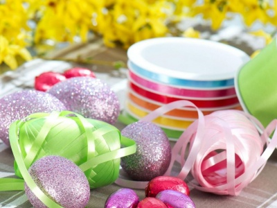 Eggs Easter Ribbons Table Foil Holiday