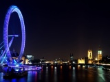 Eye Night Lights Ferris Wheel London England Great Britain Building River Thames Uk City Landscape