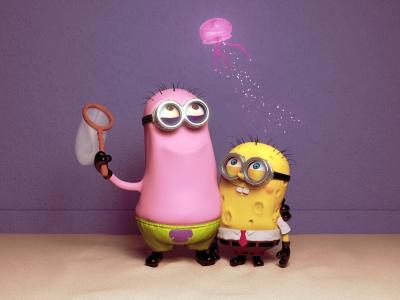 Funny Minions Patrick And Spongebob Wallpaper