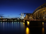 Germany Koln Cologne Germany Evening Buildings Lighting Bridge River Rhine The Reflection