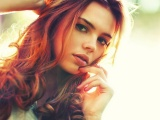 Girl Red Haired Face Eyes Languid