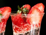Glass Fruits Food Strawberries Drinks Black Background