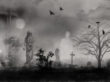 Graveyard Ghosts Birds Cross Dark Fantasy Firefox Persona Ghosts Goth Moon Mystical Sky Screen
