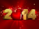 Heart And 3d Happy New Year 2014