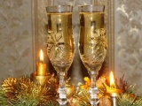 Holiday Champagne Candles Needles Thread New Year