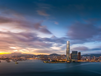 Hong Kong Evening Sunset Sky Clouds Bay Building Fires Port Metropolis City