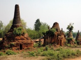 Indein Stupa Complex Ancient Ruins Buildings Burma