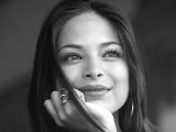 Kristin Kreuk Brunette Look Model Smile Black And White