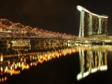 Marina Bay Sands Hotel Bridge Night River Singapore
