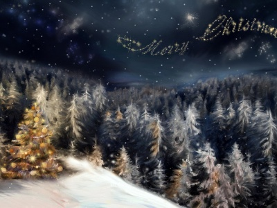 Merry Christmas Sky Message Holiday 3D