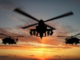 Military Helicopters And Sunset