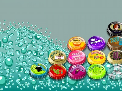 Multicolored Bottle Caps (click to view)